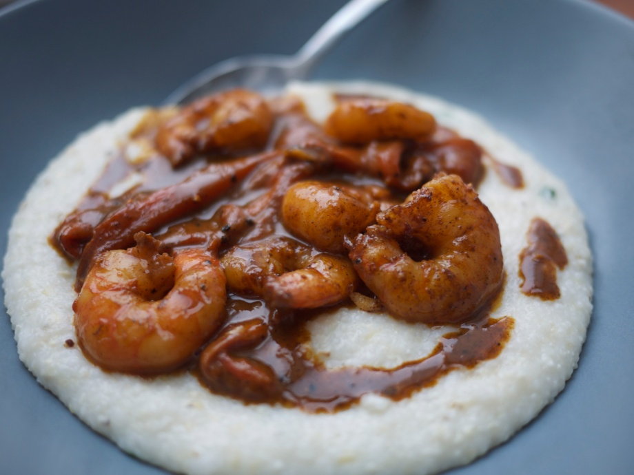 Kiwi+Peach: Creole Shrimp and Basil Goat Cheese Grits from Tupelo Honey Café