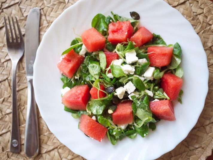 Watermelon, Feta, and Mint Salad from Kiwi and Peach