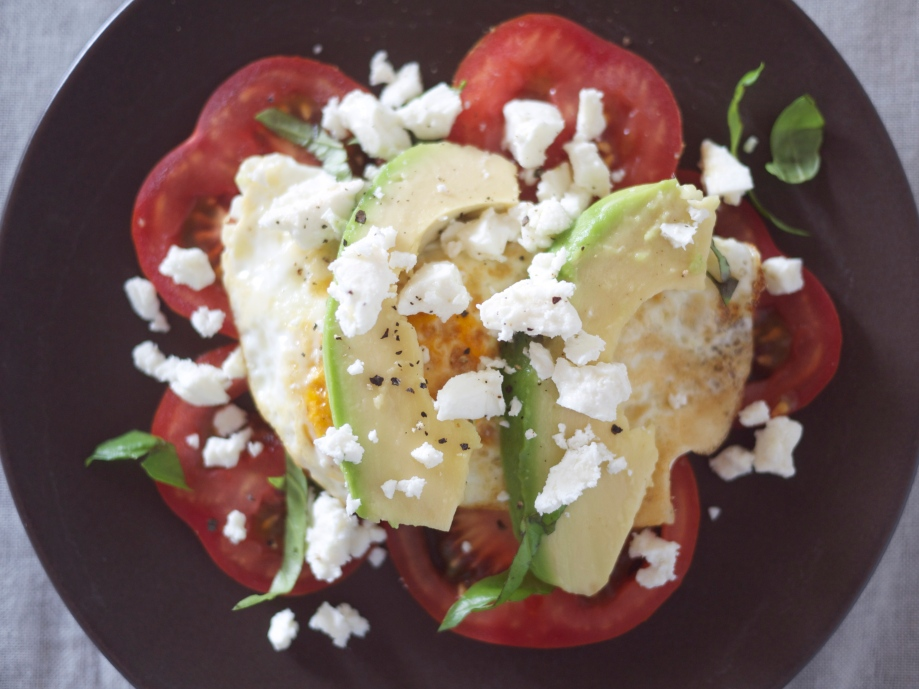 Fried Egg with Tomato, Feta, and Avocado