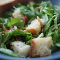 Tuscan Salad with Homemade Roasted Garlic Croutons