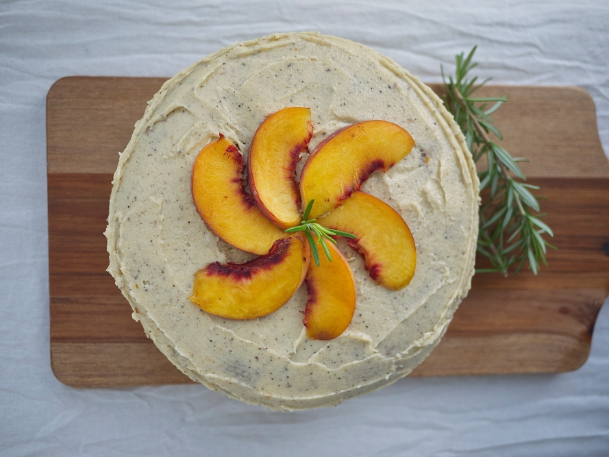 Peach and Rosemary Polenta Cake with Honey Buttercream