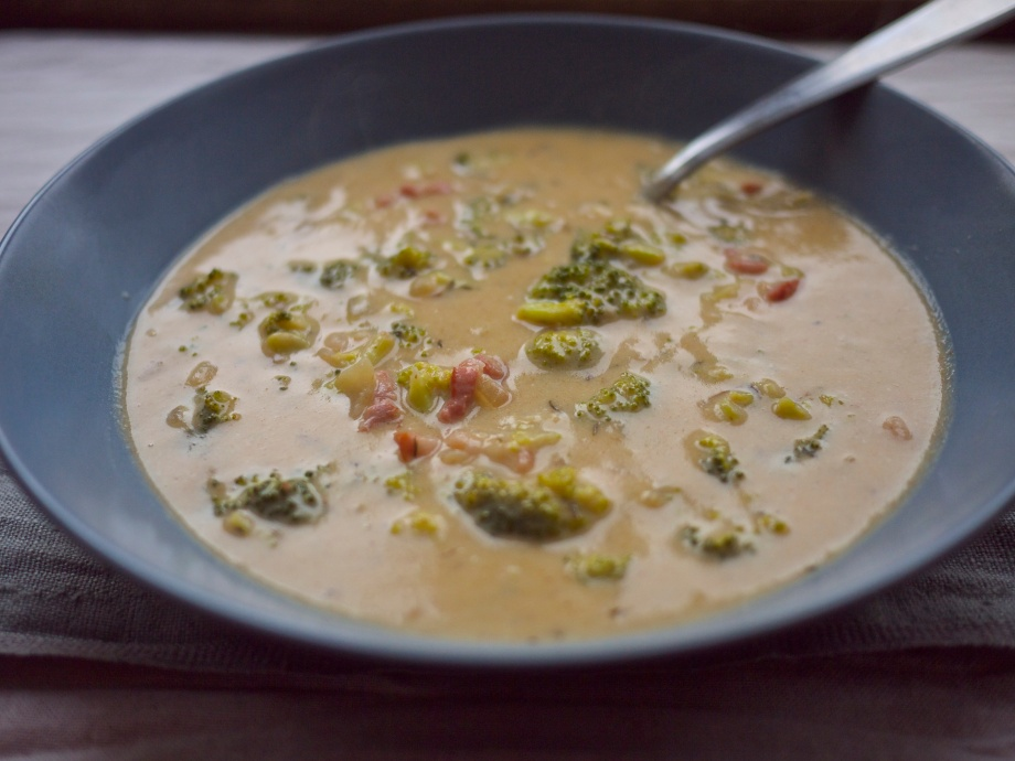 Beer + Bacon Broccoli Cheddar Soup from Kiwi and Peach