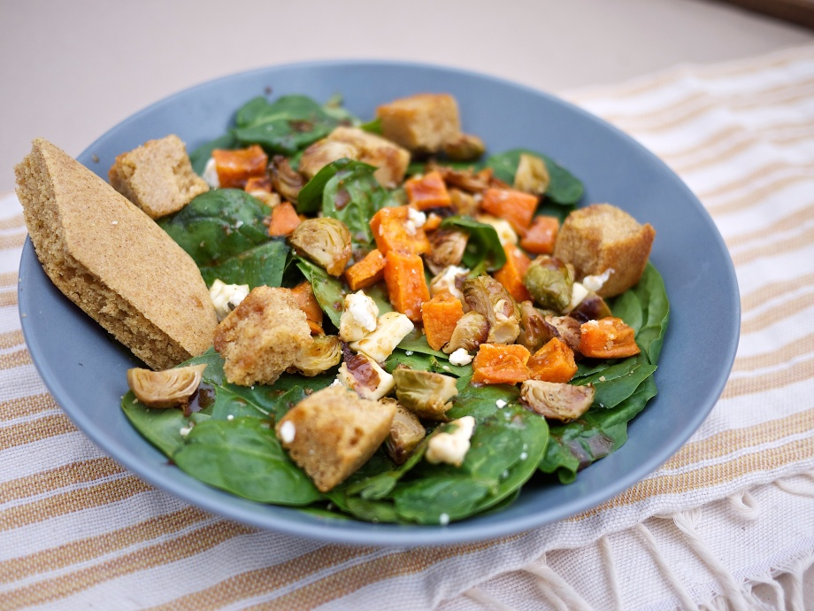 Roasted Fall Veggie Salad with Cornbread Croutons