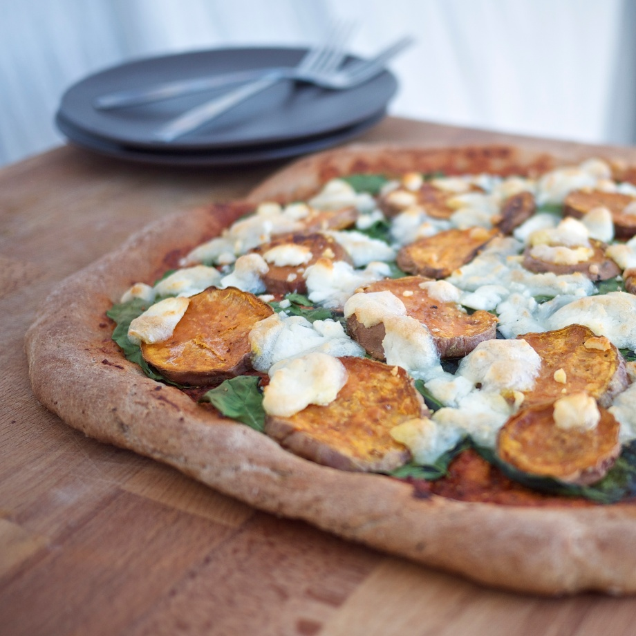 Sweet Potato, Spinach, and Goat Cheese Pizza from Kiwi and Peach