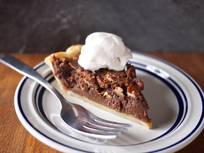 Malted Chocolate Pecan Pie from Kiwi and Peach