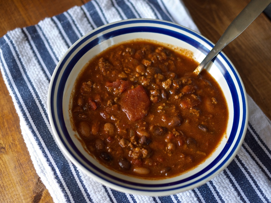 {perfected} Three Bean Chili from Kiwi and Peach