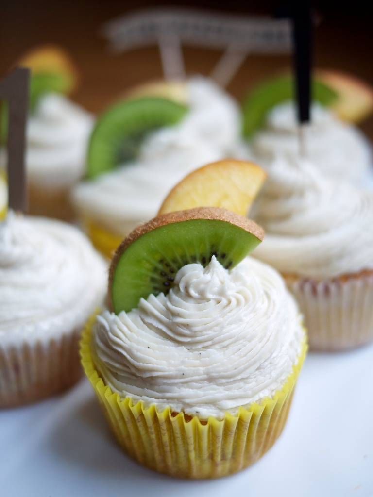 Kiwi+Peach Turns One + Spiked Peach Cupcakes with Bourbon Buttercream