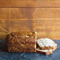 Bourbon Peach Chocolate Chunk Banana Bread